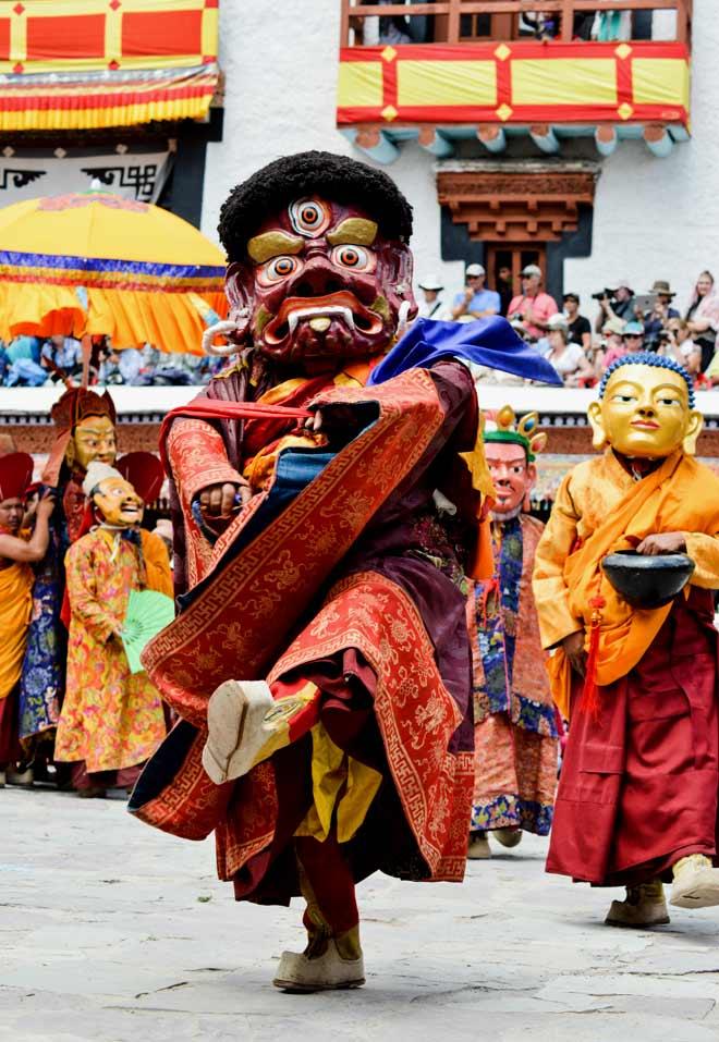Eight manifestations of Guru Padmasambhava dance at the festival, here led by the ferocious Vajralila