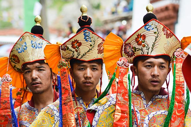 Monks dressed as the 16 Ringma Goddesses pay their respects to the 8 manifestations of Padmasambhava