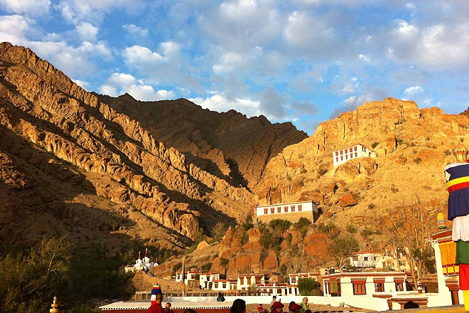 The mountains behind the Hemis Monastery lit up at sunrise