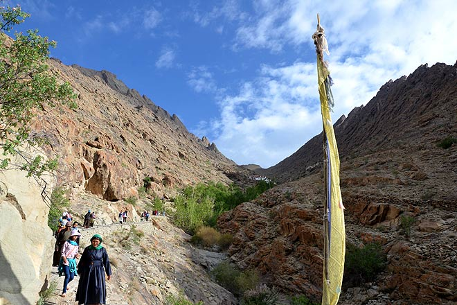 The mountain trail up to the cave shrine of Kotsang in the mountains above Hemis