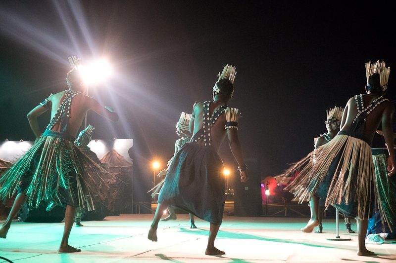 The state at the tent city at Rann Utsav lit up by a tribal dance performance