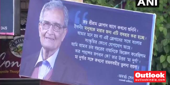 Billboards With Noble Laureate Amartya Sen's Remarks Over 'Jai Shri Ram' Appear On Kolkata Streets