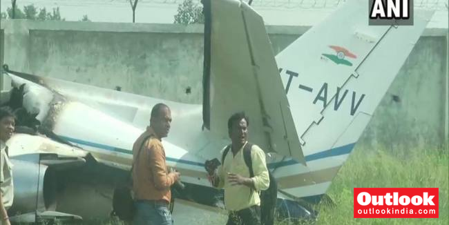 Private Trainer Aircraft Crashes At Aligarh Dhanipur Airstrip