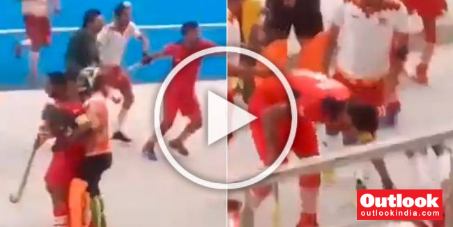 Indian Hockey's Shame: Punjab Police And PNB Players Fight During Nehru Hockey Final - WATCH