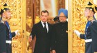 Russian President Dmitry Medvedev with Manmohan Singh at the Kremlin ahead of their meeting