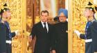 Russian President Dmitry Medvedev with Manmohan Singh at the Kremlin ahead of their meeting