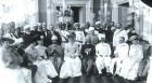 <b>Many influences</b> The Nizam with British officials and guests