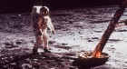 In this July 1969 file photo, Astronaut Edwin Aldrin walks by the footpad of the Apollo 11 Lunar Module
