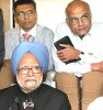 Double frame: Manmohan Singh with Shivshankar Menon (right)