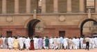 The Nays: NDA leaders entering the Rashtrapati Bhavan to submit a memorandum on the Indo-Pak joint statement