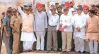 False cheer? (L-R) Vajpayee, George Fernandes, Kalam, R. Chidambaram, Shekhawat at the Pokhran site on May 20, 1998