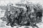 Wood engraving depicting the British massacre in the first Anglo-Afghan War, 1838-1842