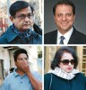 Clockwise from top right, US attorney Preet Bharara, informant Roomy Khan, and 'friends' Rajiv Goel and Anil Kumar