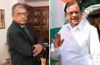 J. Hari Narayan, IRDA chairman; P. Chidambaram, Finance minister