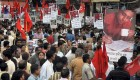 Left party workers protest the death of Sudipta Gupta in Kolkata.
