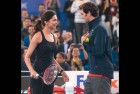 <b>Prince and the showgirl</b> Roger Federer and Deepika Padukone at the IPTL in Delhi