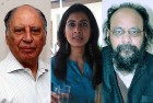 <B>Poets' collective</b> Keki Daruwala, Arundhati Subramanium and Joy Goswami