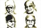 Clockwise: Madan Mohan Malaviya, Sardar Patel, Kanshi Ram, Subhas Bose