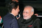 Modi is welcomed by Japanese PM Shinzo Abe in Kyoto, August 30