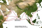 The route of the voyages of Zheng He's fleet.