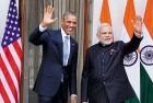 Obama, Modi at a photo-op, Hyderabad House, Jan 25