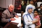 <b>Her kind touch</B> Muggeridge (left), an atheist, was transformed by Mother Teresa