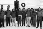 Prisoners of war at Delhi's Palam airport after repatriation on January 22, 1966. The author is second from left.