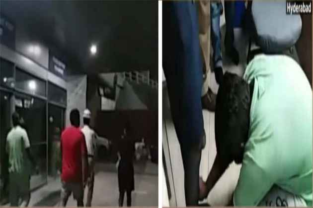Indigo Female Staff Makes Two Drunk Men Fall At Her Feet For Misbehaving With Her At Hyderabad Airport