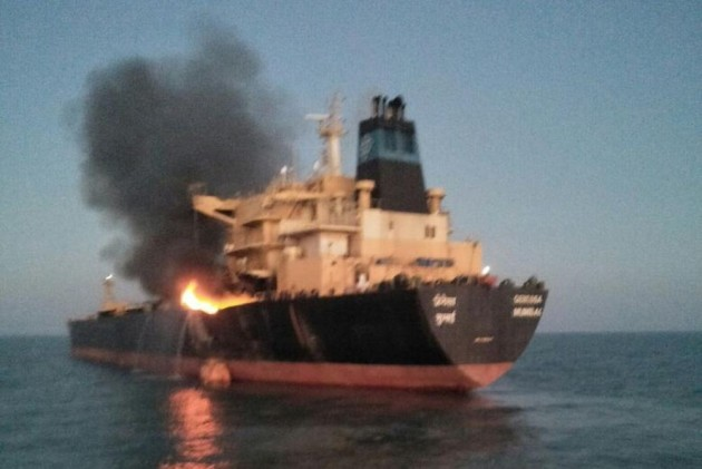 Oil Tanker MT Genessa Catches Fire Off Gujarat Coast, Crew Rescued