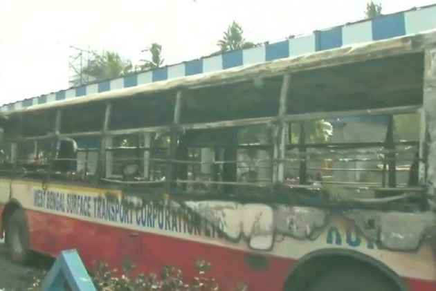 Angry mob torches buses after bus runs over two