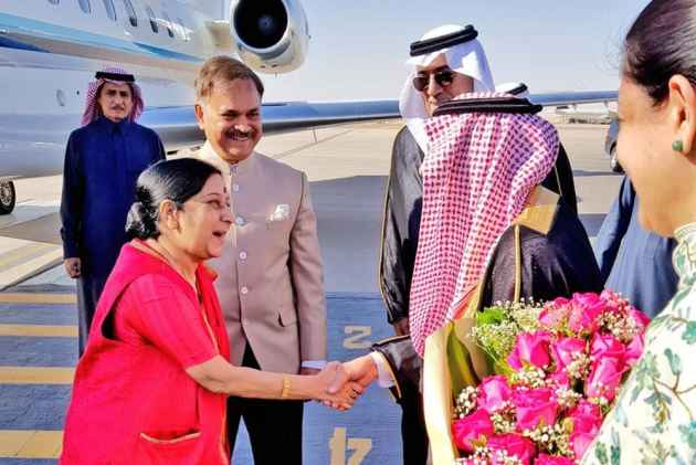 Sushma Swaraj Arrives In Saudi Arabia On Three-Day Visit