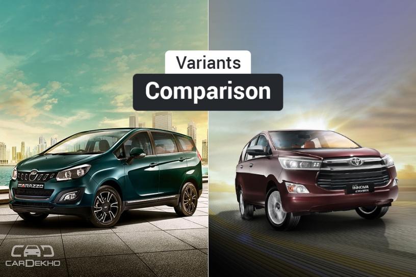 Mahindra Marazzo vs Toyota Innova Crysta: Variants Comparison