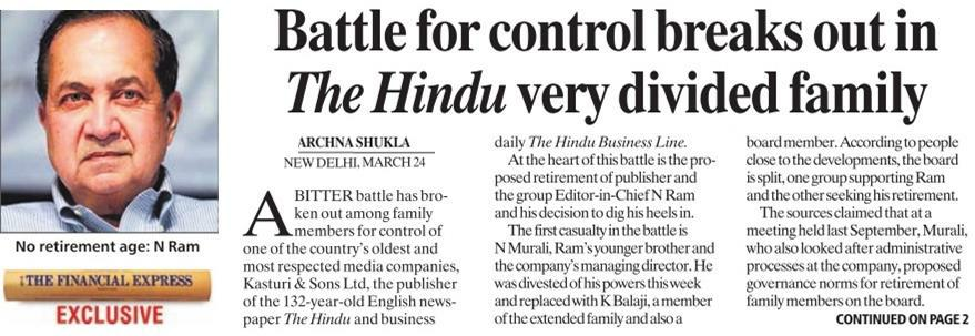 The Hindu: Very Divided Family