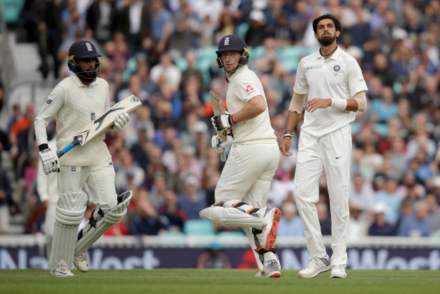 Ishant Sharma reacts after as Jos Buttler and Adil Rashid scamper for a run (AP Photo/Matt Dunham).