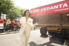 <b>Striking edge</b> Bianca Jagger at a protest in London