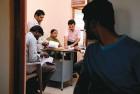 <b>Her space</b> Hemavathi at work in the panchayat office