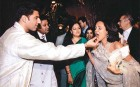 <b>Happy together</b> Lalit Modi, his wife Minal (right) and Vasundhararaje at the engagement party of Gaurav Burman (left) in 2006