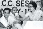 <b>Whodunit?</b> Rajiv Gandhi, P.V. Narasimha Rao and Indira Gandhi at an AICC session