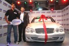 R.P. Singh poses with a Mercedes gifted to him after the T20 World Cup in 2007
