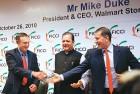 (Lto R) Wal-Mart CEO Mike Duke, Union minister Subodh Kant Sahay and Rajan Bharti Mittal at FICCI, New Delhi, on October 26
