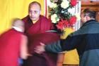 <b>In a spot</b> The Karmapa giving audience at Gyatso Monastery