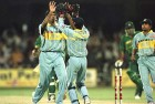 Venkatesh Prasad celebrates on taking the wicket of Aamir Sohail in the 1996 India-Pakistan World Cup match