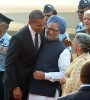 <b>More than just niceties</b> The prime minister and his wife Gursharan Kaur greet Obama on his visit to India