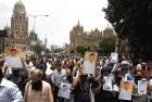 <b>No-comfort zone</b> Journalists protest the killing of J. Dey