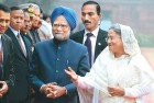 Manmohan Singh, Sheikh Hasina, during the latter's January 2010 visit to New Delhi