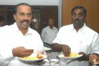 <b>A lot on their plates</b> Janardhana (left) and Karunakara Reddy at Karnataka Bhawan