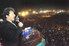 Imran at the mammoth rally in Lahore on October 30