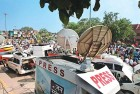 <b>Under watch</b> OB vans near Ramlila Maidan, New Delhi, during Anna Hazare's campaign against corruption