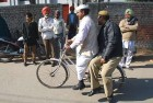 <b>The Wheel Spins</b> <p>  Sham Lal Gandhi, the Bharatiya Chaitanya Party man in Amritsar, gives a lift to his security officer after filing his papers.