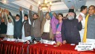 Dr Ayub, fourth from left, with Udit Raj and Apna Dal's Anupriya Patel announces the formation of the Ettehad Front